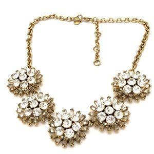 J CREW crystal burst matte gold statement necklace